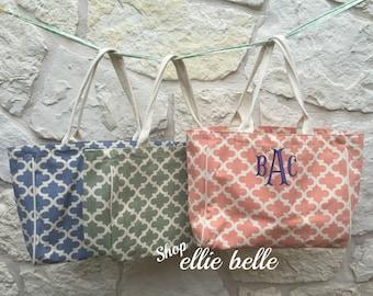 Monogrammed Trefoil Bag / Beach Bag / Tote