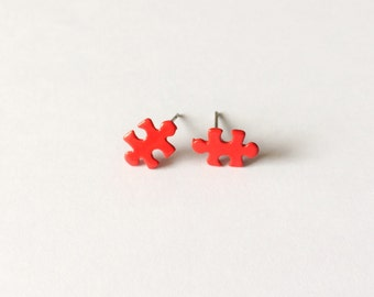 Little Red Puzzle Piece Earrings - Red earrings - Fashion earrings - Puzzle Piece - Post earrings - Stud earrings - Kawaii earrings