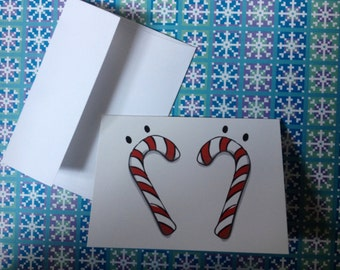 Cute Candy Cane Holiday Cards