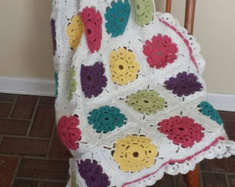 Sweet Maybelle Flowers Crocheted Baby Blanket FREE DOMESTIC SHIPPING