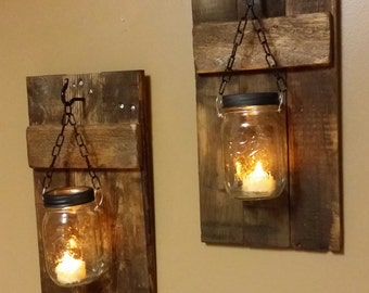 mason jar candle holders set rustic candles wood candle holders mason jar candles