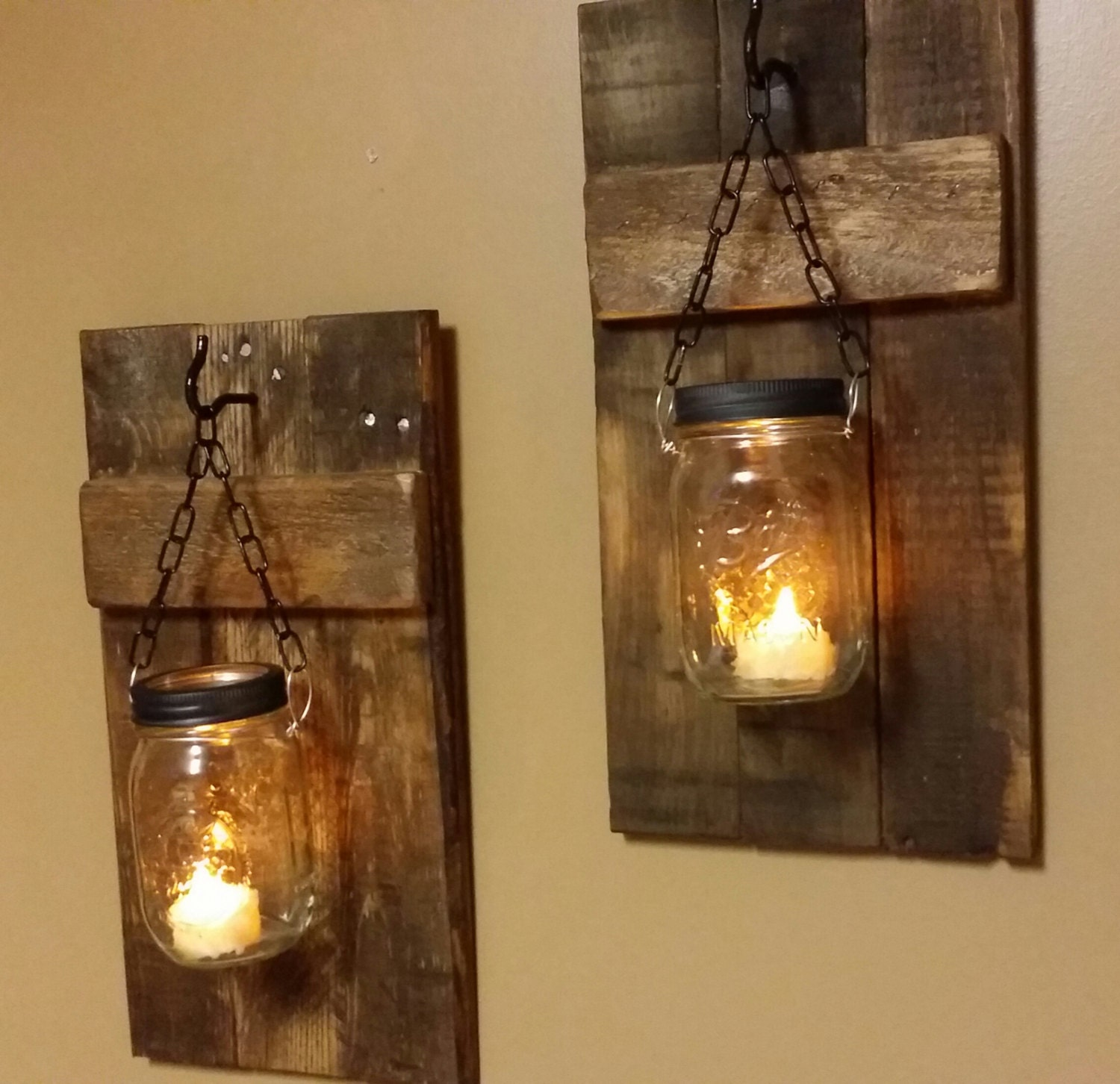 mason jar candle holders set rustic candles wood candle. Black Bedroom Furniture Sets. Home Design Ideas