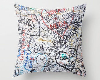 Graffiti Pillow - Velveteen Pillow - Graffiti - Italy Pillow - Verona Love Graffiti - Girls Pillow - Teen Decor - Graffiti Art - Italy