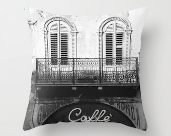 Italy Pillow, Velvet Cushion Cover, Cafe Pillow, Cafe Decor, Coffee Shop Pillow, Kitchen Decor, Italy Photography Cushion, Black and White