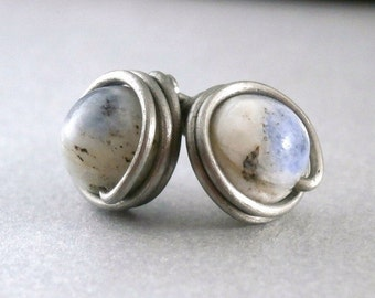 Little Sodalite Stud Earrings Titanium Post Earrings Hypoallergenic Wire Jewelry Wire Wrapped Jewelry Handmade Boho Stone Studs Titanium Jew