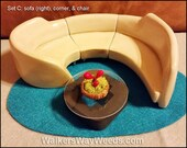 3/4 Dollhouse 3-Pc Arched Sofa (R) Set Mid Century Modern Repurposed