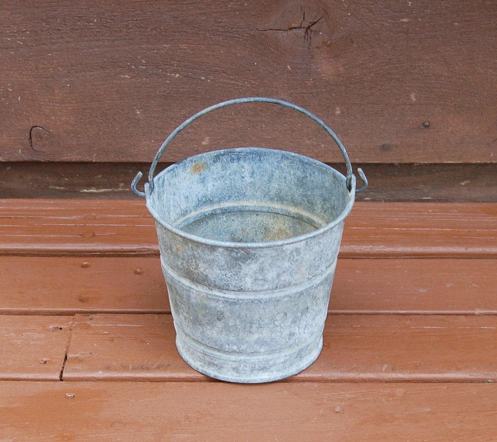 Mini galvanized bucket very small vintage galvanized pail for Galvanized metal buckets small