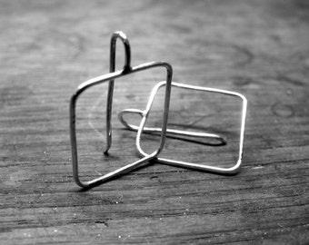 7N3 - Boucles d'oreilles en fil d'argent 925, forme carré