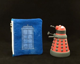 SALE! Doctor Who inspired Handcrafted Coin Purse made from Hand-Dyed cotton (TARDIS)