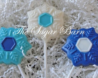 SNOWFLAKE CHOCOLATE Lollipops*12 Count*Frozen Theme Favors*Edible Snowflake*Girl Party Favors*Winter Wonderland*Holiday Party Favors