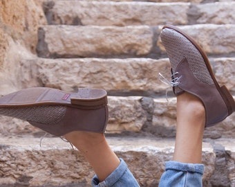 Grey Leather Shoes, Woven Oxford Shoes, Close Shoes, Flat Shoes, Grey Shoes , Free Shipping