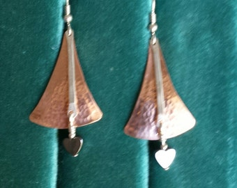 Solid Copper and Sterling Silver hammered earrings