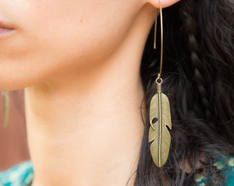 Navajo Bronze Tribal Feather Earrings. Native American Indian Feather Large hoop earrings. Unique Boho, festival chic by Molax Chopa Tribe