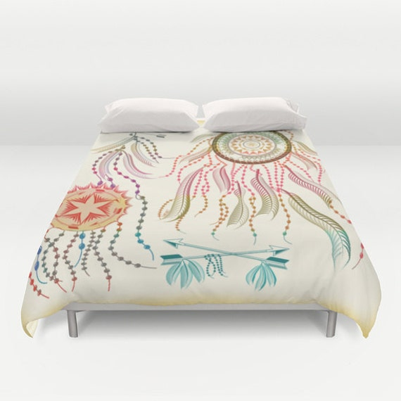 Duvet cover decorative dream catcher boho bedding home by for Decorative bed covers
