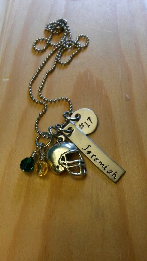 Hand stamped necklace football necklace football mom for How do you make hand stamped jewelry