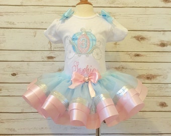 Cinderella birthday outfit ribbon tutu with silver sparkle glitter pink and blue personalized  carriage shirt