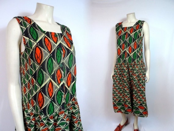 Tribal Drop Waist Dress AFRICAN VILLAGE by MirrorballBoutique