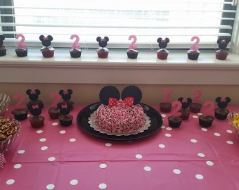 12 Minnie Mouse Themed Cupcake Toppers
