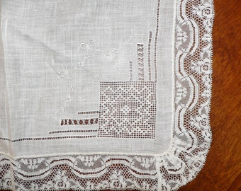 Beautiful White Wedding Handkerchief with Lace, Embroidery and Pulled Work