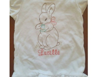 Vintage Embroidered Teatime Bunny Onesie or Gown