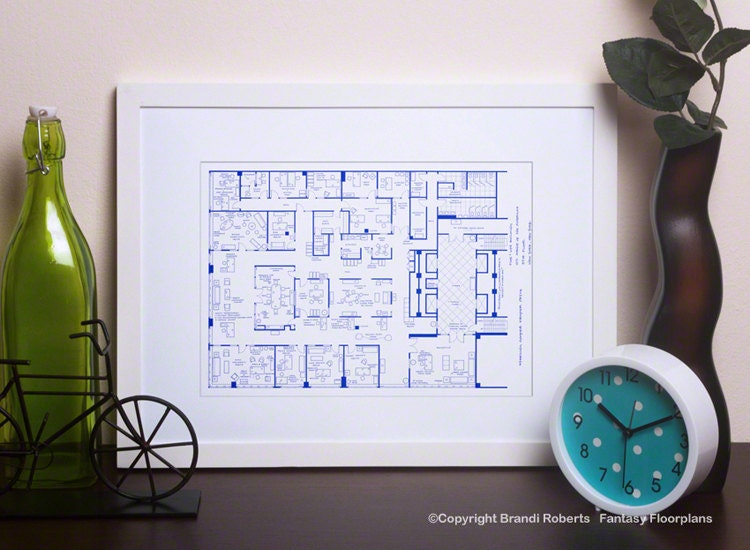 Mad Men TV Show Floor Plan BluePrint Poster Art For
