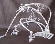 Unique Fascinator Hat Calder Mobile inspired 'Kinetic Aesthetic', 3D Printing, White Fascinator, Wedding Fascinator, Contemporary Fascinator
