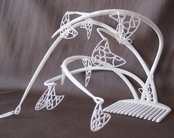 Fascinator Hat, White Fascinator, Bridal Fascinator, Wedding Fascinator, Kentucky Derby Fascinators, Calder Mobile inspired, 3D Printing