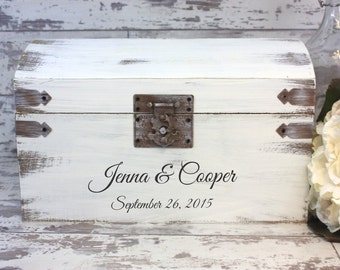 Wedding Card Box - Engraved With Bride And Groom's Names And Wedding Date, Personalized Wedding Decor