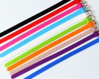 Wholesale 50pcs Adjustable  Blank Silicone Bracelet Strap Wristbands,Fit 8mm Slide Charm,DIY Bracelet Accessory
