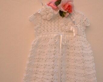 Baby dress for weddings with headband, white cotton hand crocheted. Custom birth Crohet
