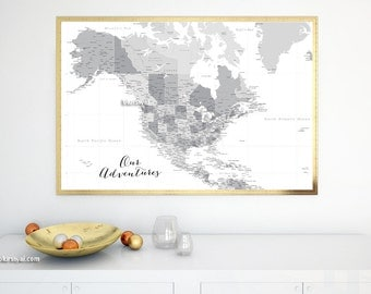 Our Adventures Map Etsy - Us map pinboard