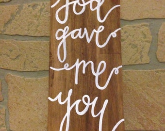 God gave me you painting on reclaimed wood