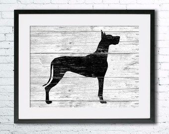Great Dane 4 art illustration print, Great Dane painting ,dog illustration, Wall art, Rustic Wood art, Animal art, dog art, art print