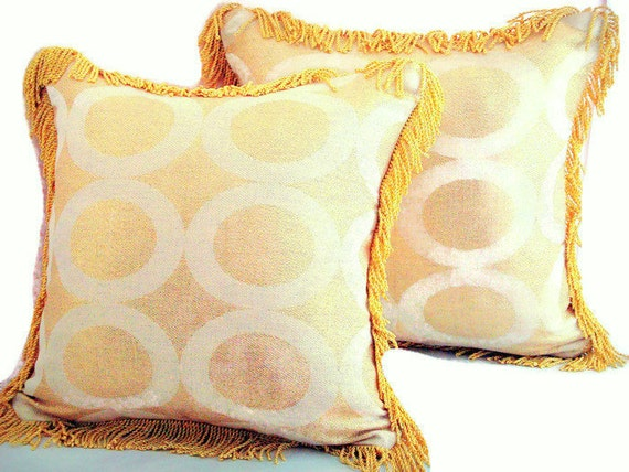 Gold fringe throw pillow Geometric golden cushion cover