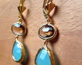 Gold plated mint green and brown faceted glass bezel earrings