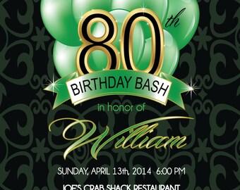80th Birthday Invitation - Men's Birthday Party Invitation - Any Age - Digital or Printed Invite