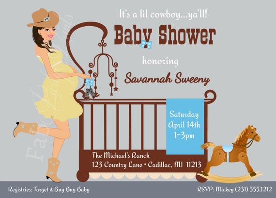 Cowboy Baby Shower Invitation Country Western By Fabpartyprints, Baby Shower