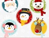 Christmas Clipart, Christmas Clip Art, Santa Clipart, Christmas Faces Clipart, Digital Christmas Clipart