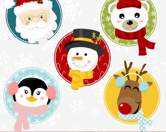 80% OFF SALE Christmas Clipart, Christmas Clip Art, Santa Clipart, Christmas Faces Clipart, Digital Christmas Clipart