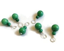 Gemstone Charms - Handmade Green Chrysoprase Charms in Silver - Special Buy 1 Get 1 Free