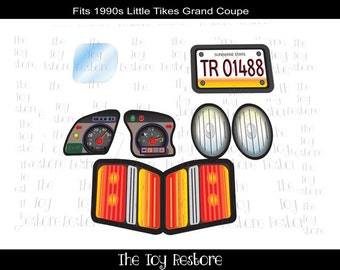 New Replacement Decals Stickers fits Little Tikes Tykes 90s Grand Cozy Coupe Regular Set