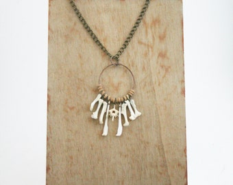 Wire wrapped bone necklace