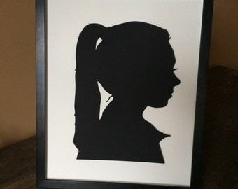 one 14 x 17 framed silhouette cameo unique gift custom silhouette picture custom hand cut silouhette portrait