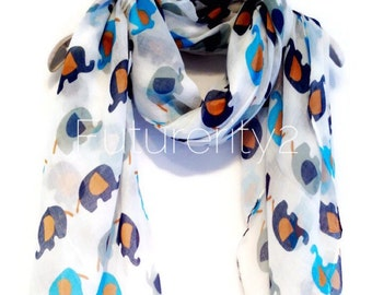Elephant Off White Spring Scarf / Summer Scarf / Gift For Her