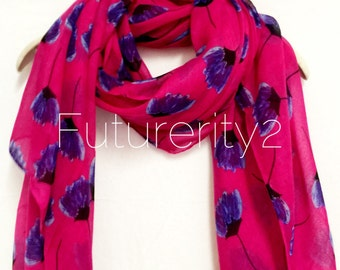 Pressed Flower Pink Spring Summer Scarf / Autumn Scarf / Women Scarves / Gifts For Her / Handmade Accessories