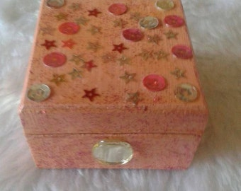 Pink Square Decorated Trinket Box