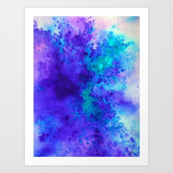 Items Similar To Teal Purple Abstract Flowers Wall Decor: Abstract Art Watercolor Print Purple And Teal By SABartStudio