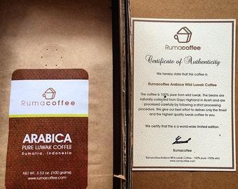 Wild Kopi Luwak Civet Coffee - Arabica Roasted Beans with Cerificate