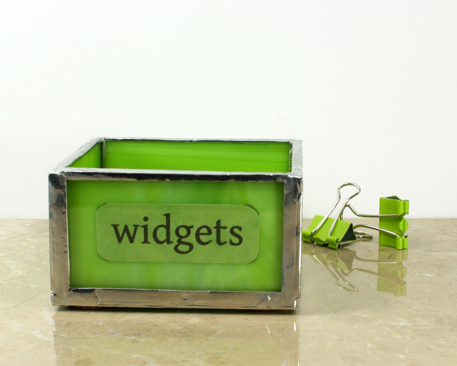 Lime Green Desk Tray Paper Clip Holder Modern Office Decor