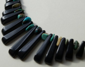 Dubh - Black Onyx and Turquoise silver necklace